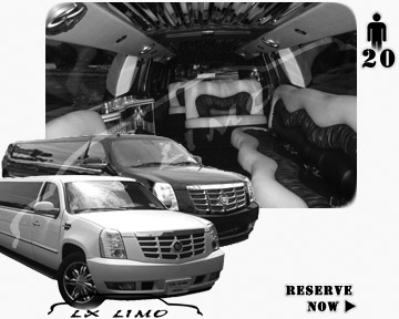Cadillac Escalade 20 passenger SUV Limousine for rental in Atlantic City, NJ